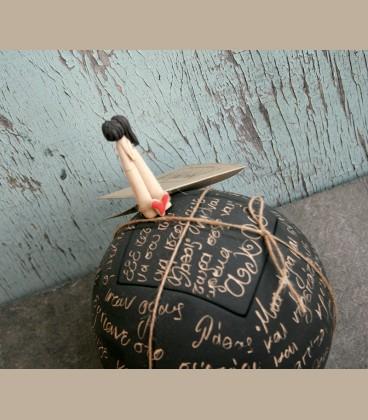 Χειροποίητο κεραμικό κουτί Ζευγάρι με ιστορία - μικρή 15εκ