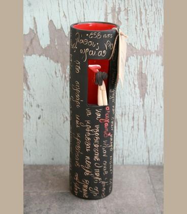 Χειροποίητο κεραμικό βάζο Ζευγάρι με ιστορία -30εκ
