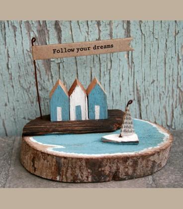 """Ξύλινο διακοσμητικό με μήνυμα  """"Follow your dreams"""""""