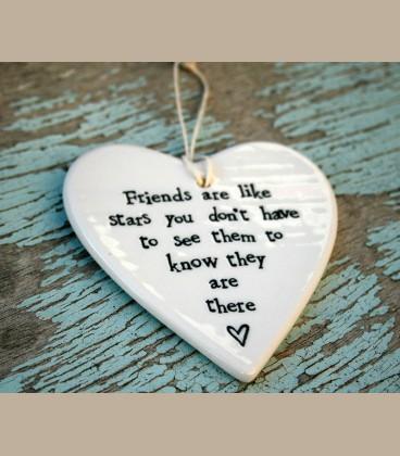 """Πορσελάνινη καρδούλα με μήνυμα φιλίας """"Friends are like stars..."""