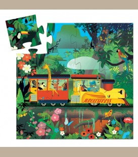 Djeco  - Mini Puzzle Το τρενάκι της ζούγκλας +3y