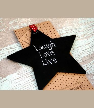 Ξύλινο αστέρι με μήνυμα Laugh Love Live 18εκ