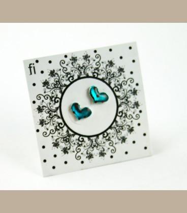 Χειροποίητα σκουλαρίκια μικρές καρδούλες βεραμάν (FI102)