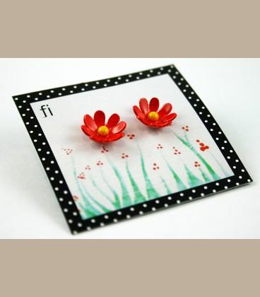 Χειροποίητα σκουλαρίκια Μαργαρίτες πορτοκαλί (FI115)