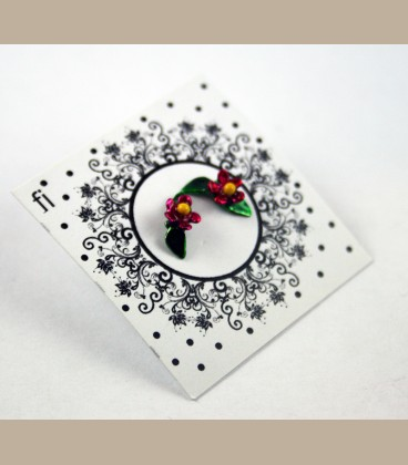 Χειροποίητα σκουλαρίκια μικρό λουλουδάκι φούξια με φύλλο πορτοκαλί (FI119)