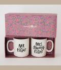 """Σετ κεραμεικές κούπες """"Mrs Always Right"""" & """"Mr Right"""""""