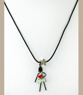 Χειροποίητο κολιέ κοριτσάκι με καρδούλα (FI154)