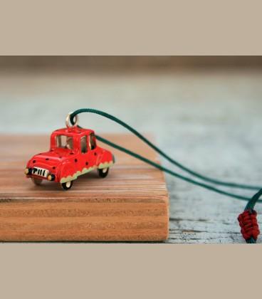 Χειροποίητο κολιέ αυτοκίνητο πορτοκαλί (FI162)