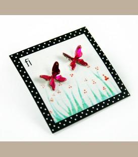 Χειροποίητα σκουλαρίκια πεταλούδες φούξια (FI112)