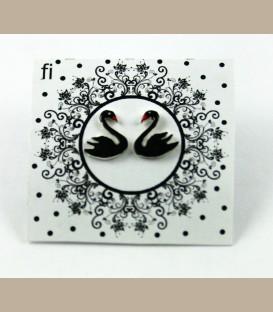 Χειροποίητα σκουλαρίκια μαύροι κύκνοι (FI118)