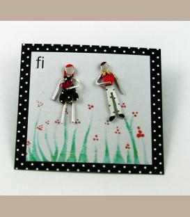 Χειροποίητα σκουλαρίκια ζευγάρι με καρδούλες (FI127)