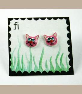 Χειροποίητα σκουλαρίκια γατούλες ροζ (FI122)