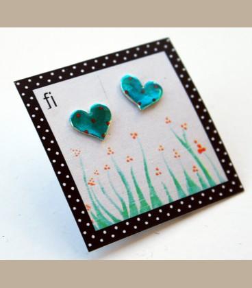 Χειροποίητα σκουλαρίκια μικρές καρδούλες μπλέ (FI103)
