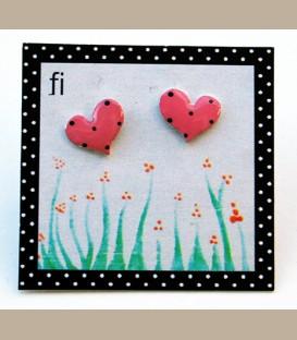 Χειροποίητα σκουλαρίκια  μικρές καρδούλες ροζ (FI104)