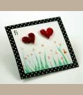 Χειροποίητα σκουλαρίκια  μικρές καρδούλες φούξια (FI105)
