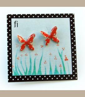 Χειροποίητα σκουλαρίκια πεταλούδες πορτοκαλί (FI113)