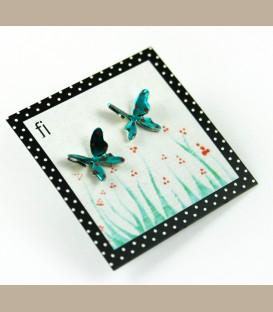 Χειροποίητα σκουλαρίκια πεταλούδες μπλέ (FI114)