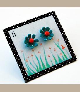 Χειροποίητα σκουλαρίκια Μαργαρίτες τυρκουαζ (FI116)