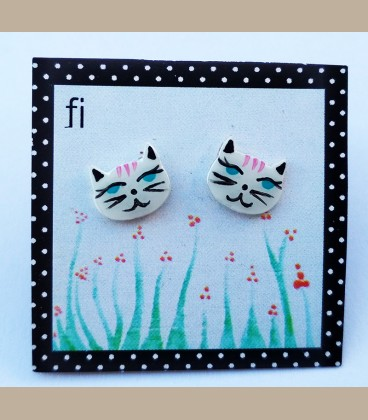 Χειροποίητα σκουλαρίκια γατούλες λευκές (FI123)