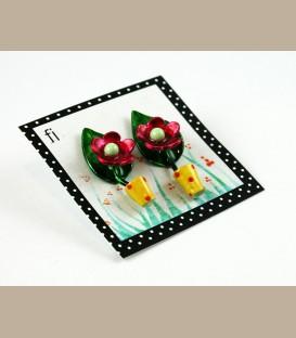 Χειροποίητα σκουλαρίκια  λουλουδάκι φούξια σε κίτρινη γλάστρα (FI125)