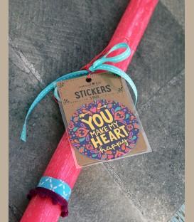 """Λαμπάδα - Stickers """"You make my heart happy"""""""