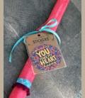 """Πασχαλινή λαμπάδα - Stickers """"You make my heart happy"""""""