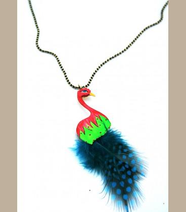 Χειροποίητο κολιέ παραδείσιο πουλί με φτερά  (FI166)