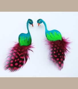 Χειροποίητα σκουλαρίκια παραδείσια πουλία με φτερά  (FI130)