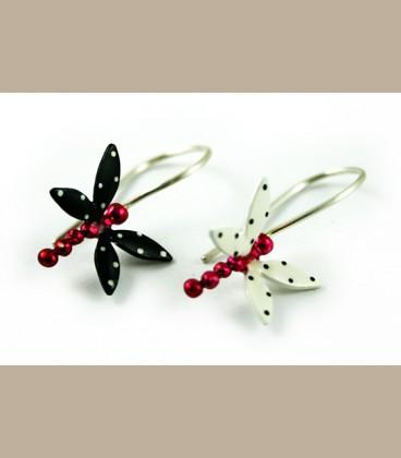 Χειροποίητα σκουλαρίκια λιβελούλες λευκό μαύρο (FI128)