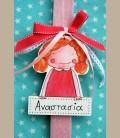 Πασχαλινή personalized λαμπάδα κοριτσάκι ξανθό με ταμπελάκι