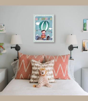 Παιδικός πίνακας αγόρι σε αερόστατο PE512
