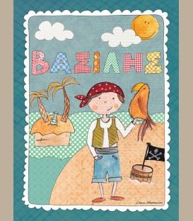 Παιδικός πίνακας Πειρατής με παπαγάλο PE145