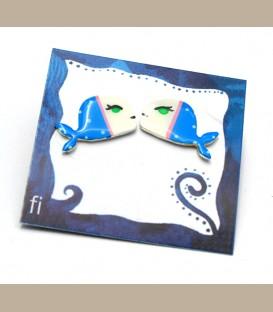 Χειροποίητα σκουλαρίκια φάλαινες άσπρο - μπλέ (FI199)