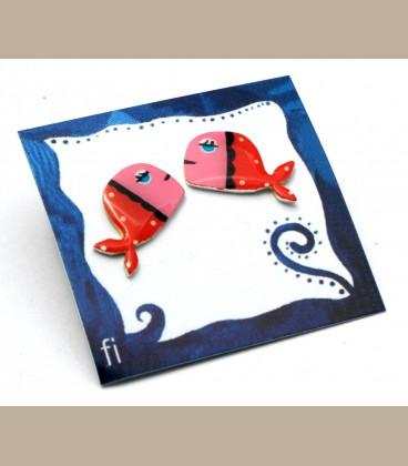 Χειροποίητα σκουλαρίκια φάλαινες κόκκινο - ροζ(FI198)