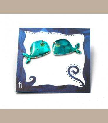 Χειροποίητα σκουλαρίκια φάλαινες τυρκουάζ (FI200)