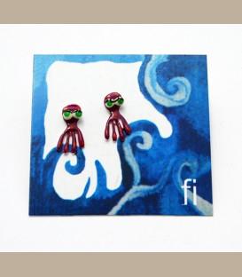 Χειροποίητα σκουλαρίκια Χταπόδι φούξια (FI188)
