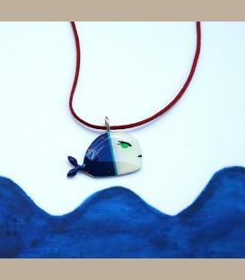 Χειροποίητο κολιέ φάλαινα λευκό μπλέ (FI209)