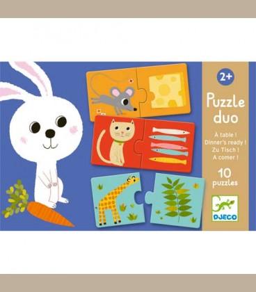 Djeco - 10 Puzzle duo Ταιριάζω την τροφή +2y