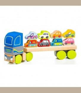 Cubika Ξύλινο Φορτηγό με 8 αυτοκινητάκια +18m