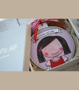 Personalized ξύλινo χριστουγεννιάτικο στολίδι κοριτσάκι (CR100)