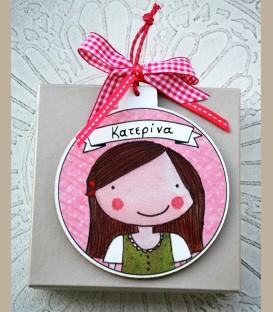 Personalized ξύλινo χριστουγεννιάτικο στολίδι κοριτσάκι (CR101)