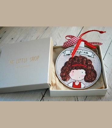 Personalized ξύλινo χριστουγεννιάτικο στολίδι κοριτσάκι (CR102)