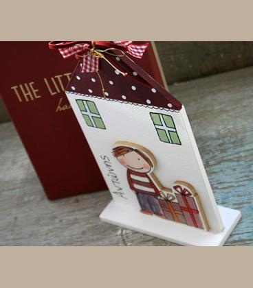 Χειροποίητο επιτραπέζιο γούρι σπιτάκι personalized για αγοράκι