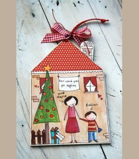 Personalized Χριστουγεννιάτικο καδράκι για νονά και αγοράκι