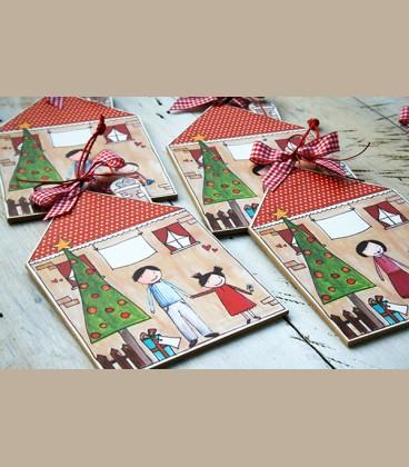 Personalized Χριστουγεννιάτικο καδράκι για νονά και κοριτσάκι