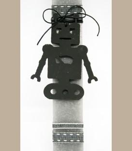 Λαμπάδα ρομπότ ξύλινο μαύρο