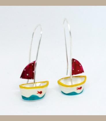 Χειροποίητα σκουλαρίκια καραβάκια (FI229)