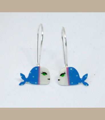 Χειροποίητα σκουλαρίκια Φάλαινες μικρές (FI222)