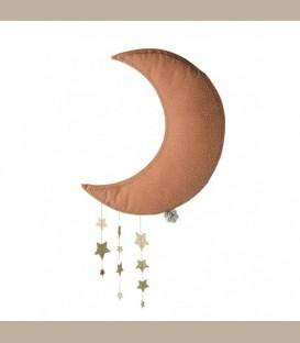 Picca LouLou- Υφασμάτινο κρεμαστό Φεγγάρι με αστέρια ροζ 45εκ
