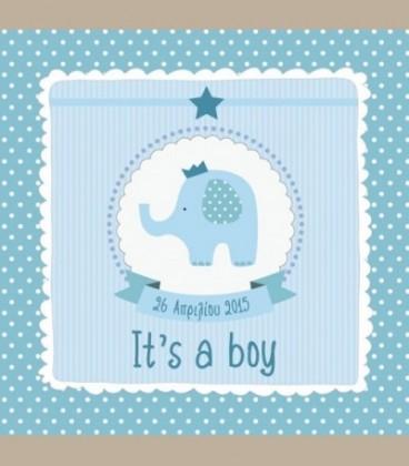 Πιστοποιητικό γέννησης ελεφαντάκι γαλάζιο 30X30εκ